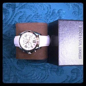 Michael Kors White Bradshaw Leather Band Watch